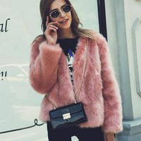2018 New Autumn Winter Women Fluffy Faux Fox Fur Coats Short Furry Fake Fur Outerwear Pink Casual Party Overcoat Female Green