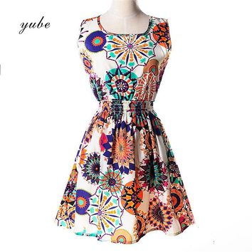 2018 New Fashion Women Summer Sleeveless Vest Dress Code Printed Floral Chiffon Dress Various Patterns