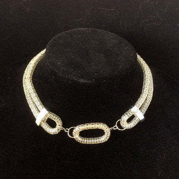 Silver Loop Mesh Statement Necklace
