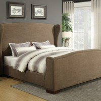 Barbara collection chocolate fabric upholstered wing back and nail head trim queen bed