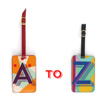 Luxury Leather Luggage Tag - Alphabet