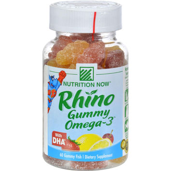 Nutrition Now Rhino Gummy Omega-3 With Dha Lemonade, Cherryade And Strawberry Lemonade - 60 Gummies