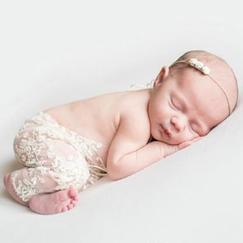 Newborn Infant Baby Lace Romper Jumpsuit Clothes Photo Photography Prop Outfits