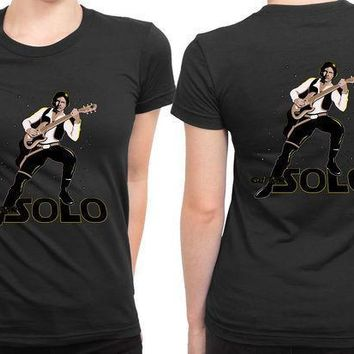 Star Wars Go Ape Hans Guitar Solo 2 Sided Womens T Shirt