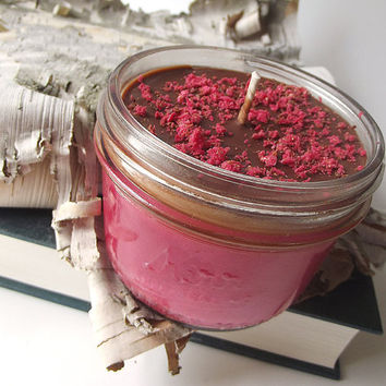 Chocolate Covered Cherry scented Soy Candle - Hand Poured Soy Candle -- 8 ounce Jar