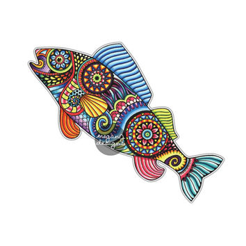 Fish Sticker Colorful Design Bumper Sticker Laptop Decal Car Decal Ocean Nautical Beach Animal Fish Rainbow Trout Art Hippie Boho Cute Decal