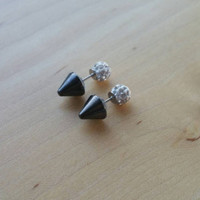 Rhinestone double sided spike earring. faux gauge.black spike.small stud. Petite spike