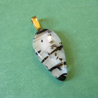 Black and White Pendant, Fused Glass Jewelry, Omega Slide  - Whistler - 4326-3