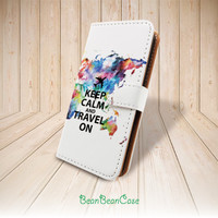 Keep Calm and Travel On world map flip pu leather case for iPhone 6 5 5S 5c 4 4S, Samsung galaxy S5 S4 Note 3 4, Moto X, custom text (L69)