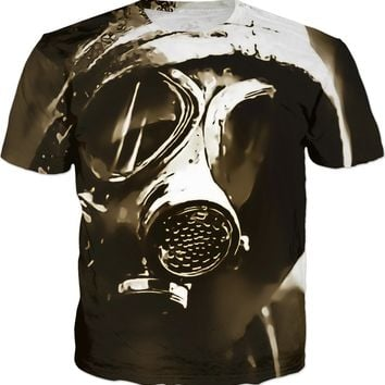 Lone wanderer post-apocalyptic tee shirt design, brown, sepia colors, scavenger in gasmask