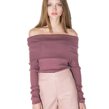 Off Shoulder Long Sleeve Sweater in Dark Pink