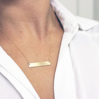 Customized Name Plate Necklace / Personalized Silver, Gold Bar Necklace / Engraveable Bar Necklace