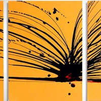"""ARTFINDER: triptych yellow and black original painting abstract  wall canvas art """"Buttercup Chaos"""" 20 x 48 inches 3 other sizes available by Stuart Wright - a triptych set of 3 paintings, each 16 x 20 inc..."""
