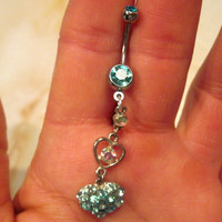 Navel Belly Button Ring Upcycled Hearts Aqua Blue and Aurora Borealis Crystals last one available Naval
