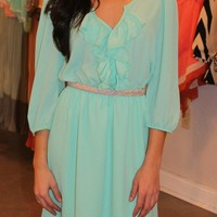 V Neck Ruffle Dress- Mint
