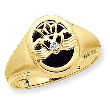 14kt yellow gold onyx diamond mens ring