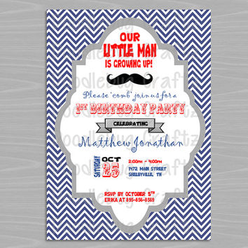 Printable - Mustache - Our Little Man is Growing Up - Personalized Birthday Party Invitation - Printable 4x6 or 5x7 Image - 24hr turnaround