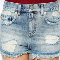 ASOS High Waist Denim Shorts in Vintage Wash with Rips and Side Split