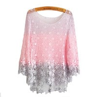 Pink Honey Peach Crochet Lace Blouse