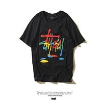 Stussy Couple Fashion Casual Pattern Print T-shirt