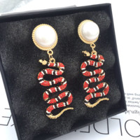 GUCCI New fashion earrings serpent long sexy pearl snake earrings Red