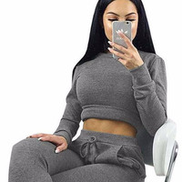 Crop Top Jumpsuit in Dark Grey