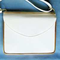 MHYO Designer Purse White Gold Trim Wedding Purse Bridal Party Special Occasion Gift Idea