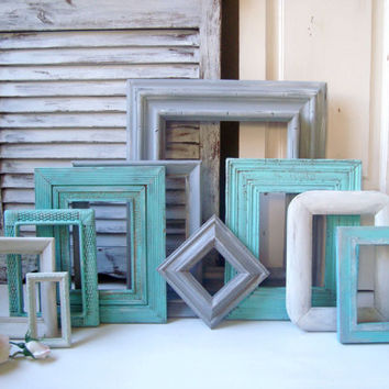 Aqua and Gray Frame Set, Set of 10 Open Frames, Gray, White and Aqua Blue Beach Cottage Frames, Frame Gallery, Up Cycled Wooden Frames