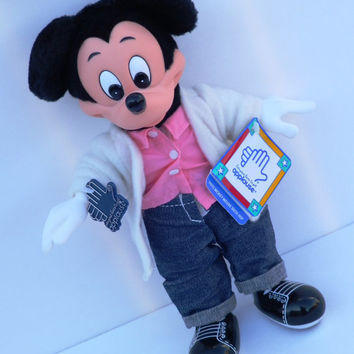 Applause Mickey Mouse Plush Toy Vinyl Sock Hop Doll