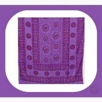 Om Purple Prayer Shawl