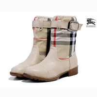 Burberry Women Fashion Leather Tube in Boots Flats Shoes