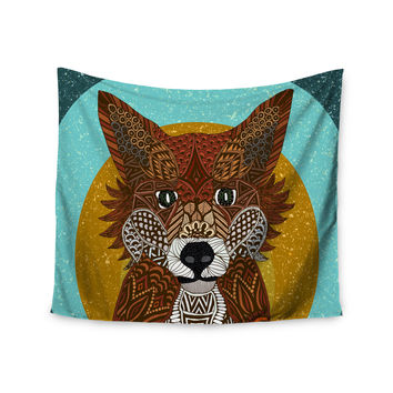 "Art Love Passion ""Colored Fox"" Blue Orange Wall Tapestry"