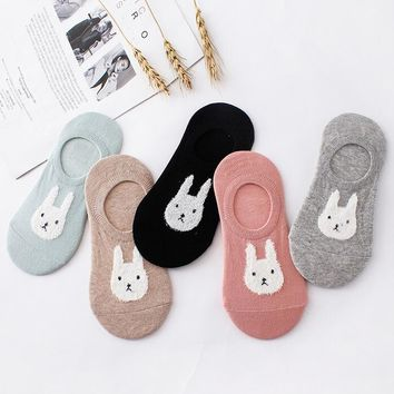 Animal Rabbit Cartoon Slipper Socks Funny Crazy Cool Novelty Cute Fun Funky Colorful