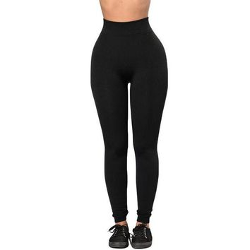 DCCKH6B 2017 Autumn Newest High Waist Women Leggings Fitted Stretchy Bodycon Legging LC79949 Solid Black High Waist Leggings