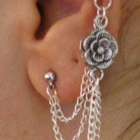 Earring with non-piercing ear cuff - chain with ROSE charm silver pl