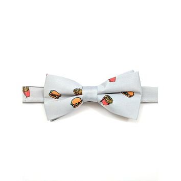 Gray Bow Tie and Pocket Square Set - Burger Fries