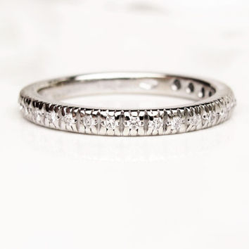 Diamond Semi Eternity Gucci Wedding Band 0.30ctw Diamond Wedding Ring 18K White Gold Made in Italy Diamond Anniversary Stacking Ring