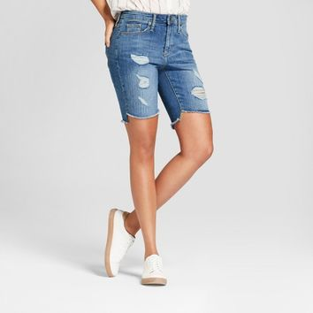 Women's High-Rise Destructed Bermuda Jean Shorts - Universal Thread™ Medium Wash