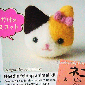 easy DIY Needle felting kit, with needle - Cute Cat neko, id1360098, beginner craft kit, cute, gift for DIYer, crafter, phone keychain charm