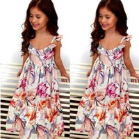 Boho Ruffle Backless Women Floral Girl Dress