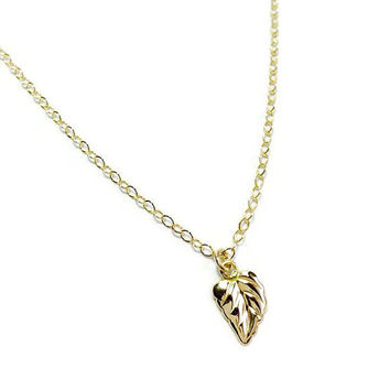 14kt Gold filled Tiny Leaf Necklace. Dainty Gold Leaf Necklace. Modern Minimalist Jewelry. Gift for Her