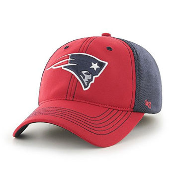 NFL Mens 47 Brand Reversal Team Color Closer Mesh Flex Fit Hat (One Size, New England Patriots)