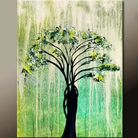 Abstract Canvas Art Painting 18x24 Original Contemporary Modern Landscape Tree Paintings  by Destiny Womack - dWo - When it Rains