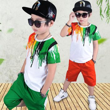 kids boy clothes for summer 2017 children clothing set 5 8 10 12 years for boys green short sleeve t-shirts sets pants boys set