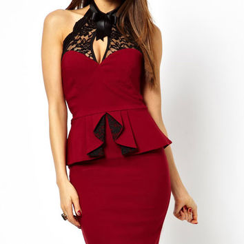 Red Peplum and High Neck Pencil Midi Dress Item No. : LC6168-3 #Q229