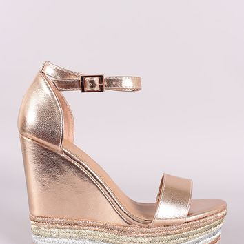 1dbc42ba378 Bamboo Metallic Ankle Strap Striped Espadrille Platform Wedge