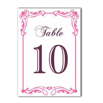 Table Numbers Wedding Table Numbers Printable Table Cards Download Elegant Table Numbers Pink Table Numbers Digital (Set 1-20)