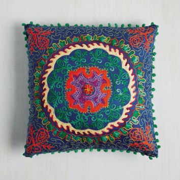 Boho Days Glow By Pillow in Cobalt by Karma Living from ModCloth