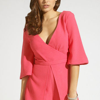 Neon Rose V-Neckline Romper with Flared Sleeves