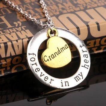 2016 I Love You Moon Grandma Grandpa Necklace Pendant For GrandDaughter,Family Gift Classic Love Heart Necklace Charm Jewelry